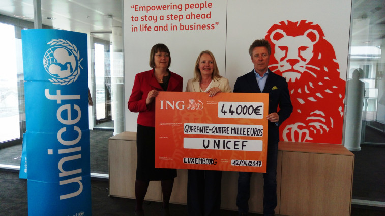 Ing has donated 150 000 euros to unicef luxembourg over 4 years to